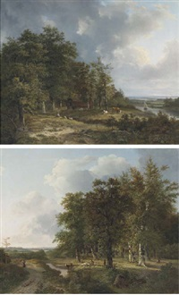 wooded landscape with cattle resting by a brook (+ summer landscape with cattle grazing by a river; pair) by hendrik verpoeken