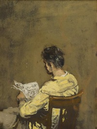 man reading a newspaper by walter stuempfig