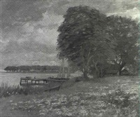river landscape with docked sailboat by daniel santry