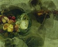femme au bouquet et violoniste by alvar