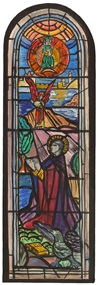 cartoon for stained glass window showing st. john the evangelist by evie hone