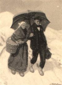 pareja en la nieve by alberto arrúe