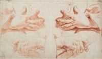 deux feuilles d'étude de mains (2 works) by jan anton garemyn