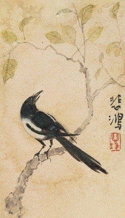 喜鹊 magpie by xu beihong