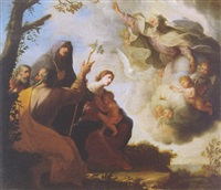 god the father appearing before the holy family with saints anne and joachim in a landscape by michele ragoglia