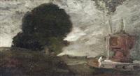 parklandschaft mit brunnen by franz naager