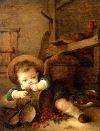 jeune garçon mangeant des cerises by françois cotibert