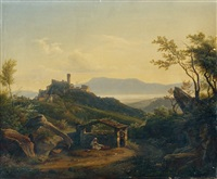 paysage de lac italien by achille hector camille debray