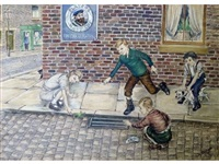 three boys and a girl releasing a frog down a drain on a cobbled terraced street by tom dodson