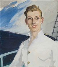 portrait of captain robert h.h. harris, on board the empire mace by dorothy carleton smyth