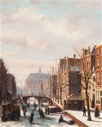 skating fun on the canal by johannes frederik hulk the elder