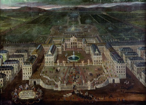 perspective du palais royal fontaines et jardin de versailles by french school 17