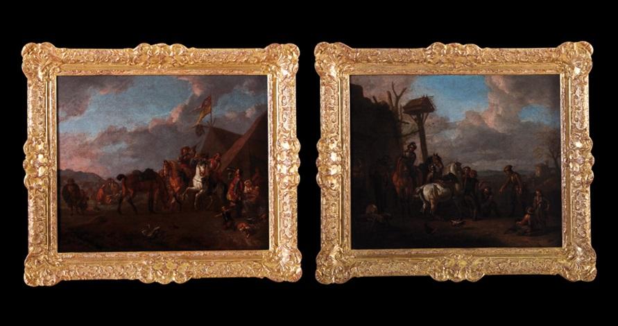 paesaggio con sosta di cavalieri e maniscalco paesaggio con sosta di cavalieri presso un accampamento pair by pieter van bloemen