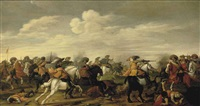 a cavalry skirmish in a landscape by palamedes palamedesz the elder
