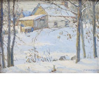 barn in winter by frederick william hutchison