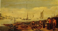 an estuary scene, with fishermen displaying their catch to a peasant couple on the shore by arent (cabel) arentsz