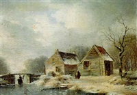 a wooded winter landscape with peasants walking along a frozen waterway by a cottage by hendrik manfried haus