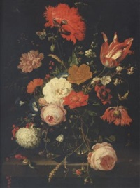 a still life of roses, poppies, a parrot tulip, convolvulus, a carnation, blackberries, redcurrants, corn, parsley and other flowers in a glass vase on a stone ledge surrounded by insects by abraham mignon