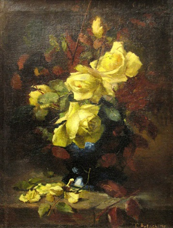roses in blue vase by constantin artachino