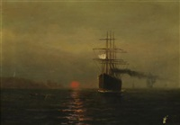 ships at sunset by elbridge wesley webber