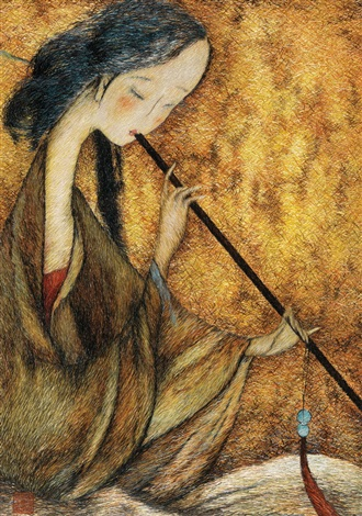 lady playing the bamboo flute embroidered by sima jianming guided by guan peiying by liu guoding