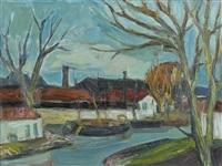 bras de rivière avec embarcations et hangars by jean camberoque