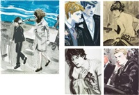 jackie and john; prince harry and prince william; john; kiss (tony); and prince william (set of 5) by elizabeth peyton