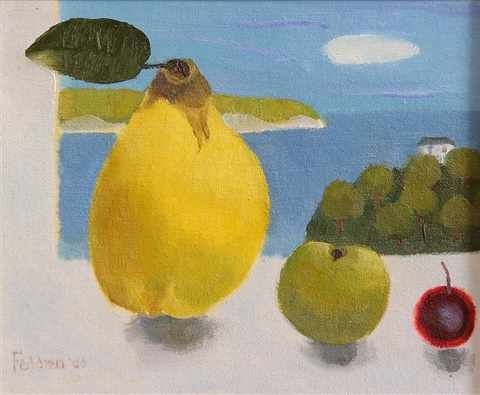 still life fruit in the window by mary fedden