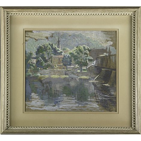 bridge to lambertville western pennsylvania 2 works by faye swengel badura