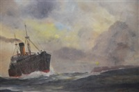 ship passing headland with lighthouse by james ashton