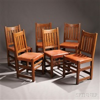 limbert arts & crafts dining chairs (6 works) by charles limbert