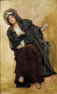 seated woman (sketch) by franz xavier simm