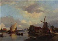 a river landscape in summer with figures on a ferry by adrianus david hilleveld