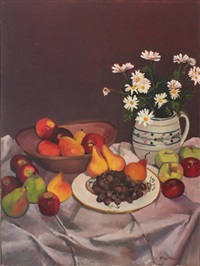 still life with fruit and daisies on a table by ellen adler