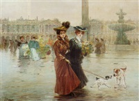 promenading on the place de la concorde, paris by felix alarcon
