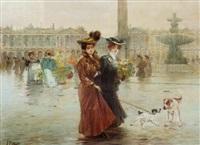 promenading on the place de la concorde, paris by felix alarcon