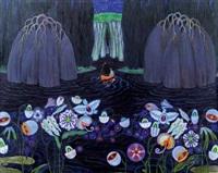 mythologische darstellung mit blüten by carl krenek