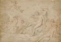thétis à sa toilette entourée de néréides (+ composition alternative pour le même sujet et une étude d'homme nu, verso) by pierre brebiette