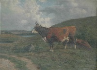 cow in a pasture by carl frederik bartsch