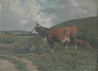 cow in a pasture by carl frederik bartsch