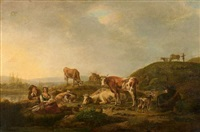le repos des bergers et de leur troupeau dans un paysage de rivière by henri-joseph antonissen