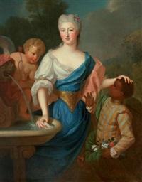 portrait de jeune femme et son page accompagnée de cupidon by pierre gobert
