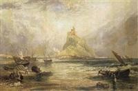vue du mont-saint-michel à marée haute by g. leslie