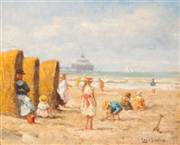 a summer day on the beach of scheveningen by louis soonius
