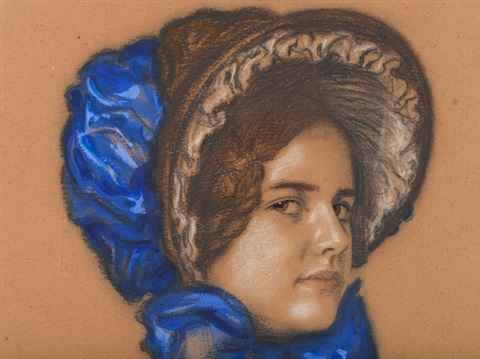 pastel portrait of mary by franz von stuck