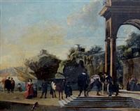 portique d'un palais classique sur un rivage rocheux animé de nombreux personnages by niccolò codazzi
