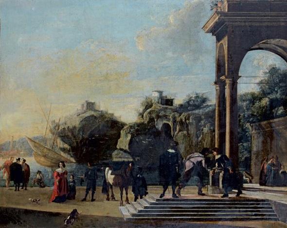 portique dun palais classique sur un rivage rocheux animé de nombreux personnages by niccolò codazzi