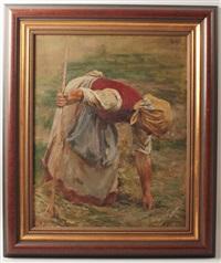 bäuerin bei der feldarbeit by rudolf böttger