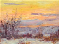 crow country sunset by joseph henry sharp