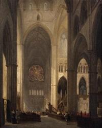 prêche dans une cathédrale gothique by jules victor genisson